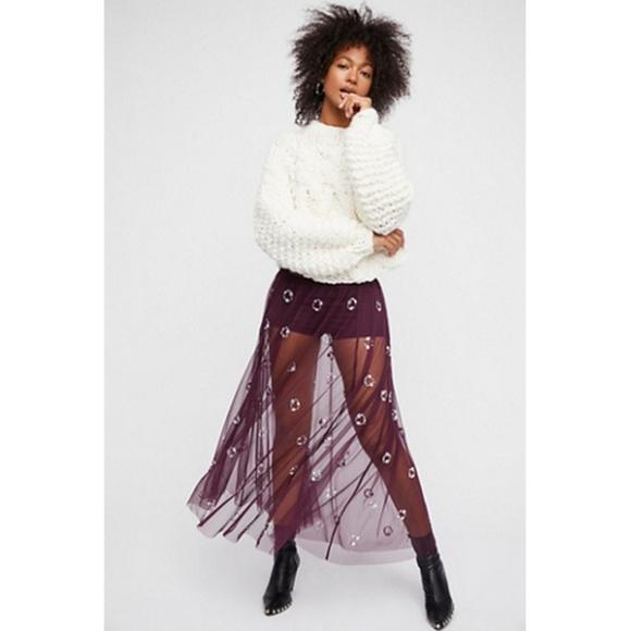 Free People Dresses & Skirts - Free People Jeweled Tulle Sheer Mesh Maxi Skirt